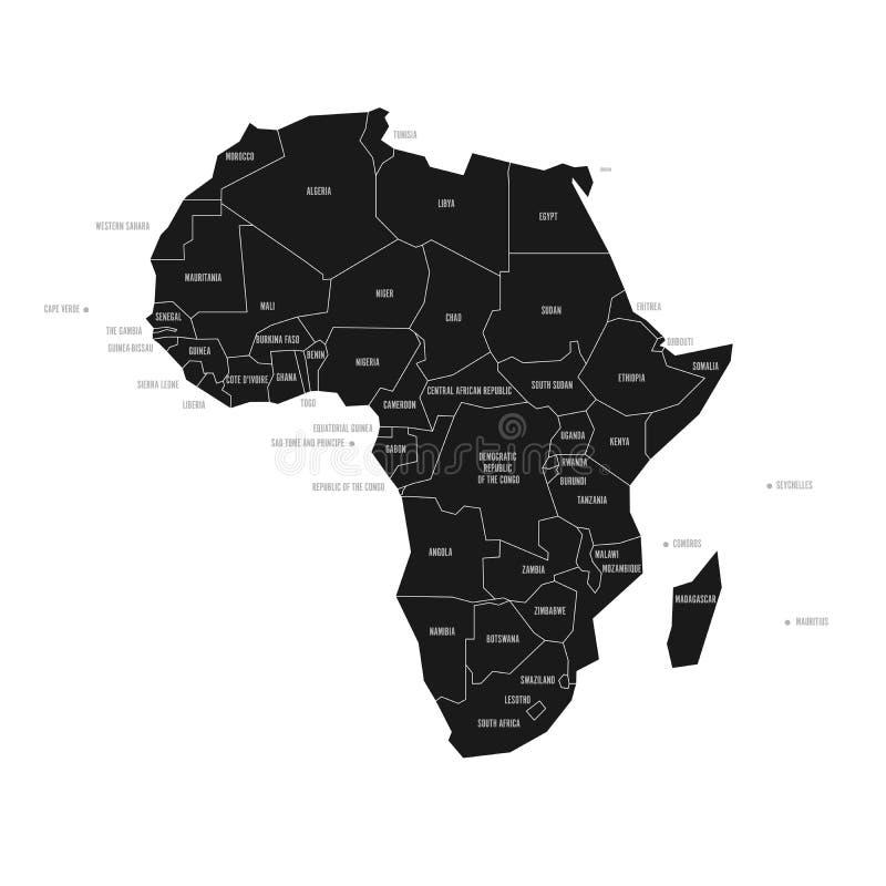 Упрощенная схематическая карта Африки Карта вектора политическая в сверхконтрастном черно-белого иллюстрация вектора