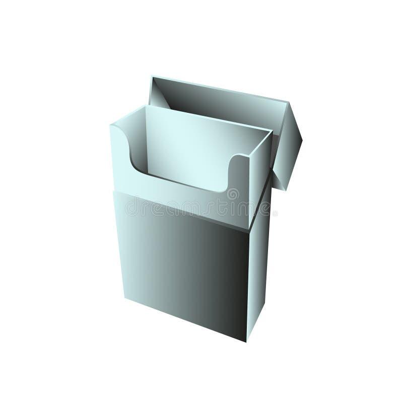 Упрощенный модель-макет раскрыл пакет сигарет Темные, сизоватые тоны Иллюстрация вектора, изолированная на светлой предпосылке бесплатная иллюстрация