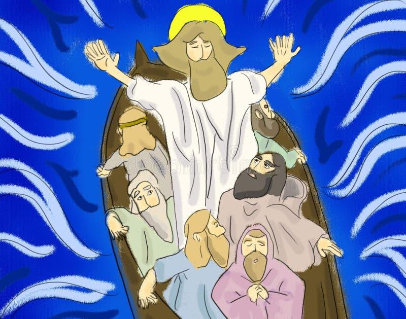 Упрёк Иисуса шторм иллюстрация штока