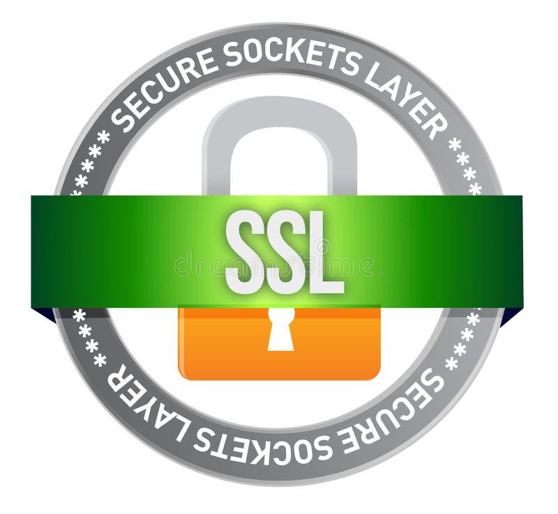 Уплотнение SSL кнопки иллюстрация вектора