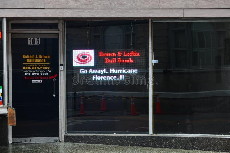 Ураган Флоренс подписывает внутри Уилсона, NC стоковое фото rf