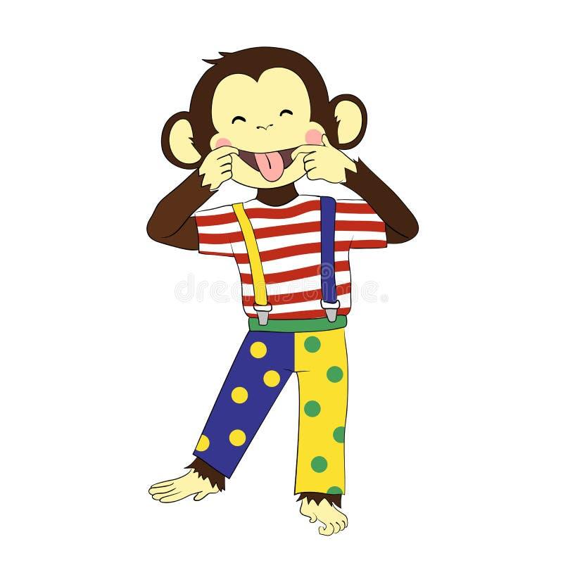 дурачок s дня Клоун обезьяны иллюстрация вектора