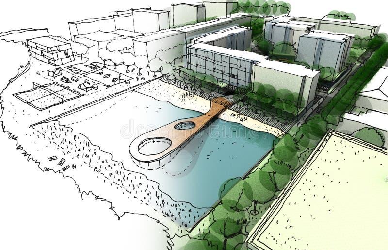 Урбанская конструкция сделала вручную эскиз иллюстрация штока