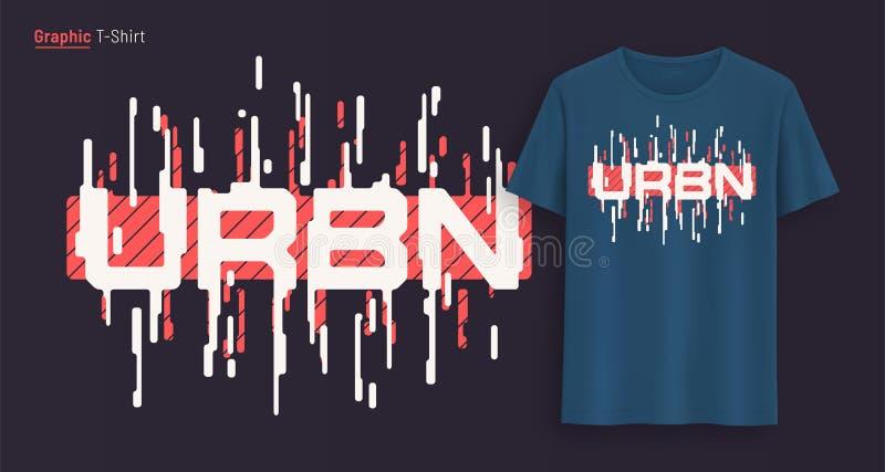 Урбанско Графический дизайн футболки, оформление, печать со стилизованным текстом иллюстрация вектора