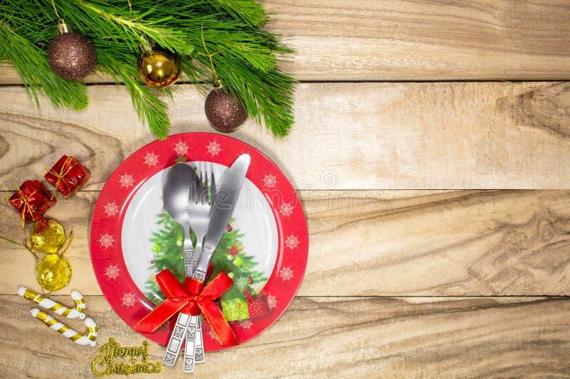 Урегулирование места таблицы рождества предпосылка праздничная Предпосылка праздника с космосом экземпляра стоковое фото rf