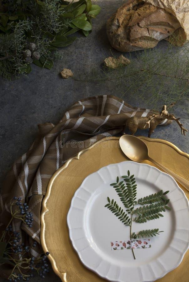 Урегулирование места золота праздника, шотландка салфетки коричневая стоковое фото rf