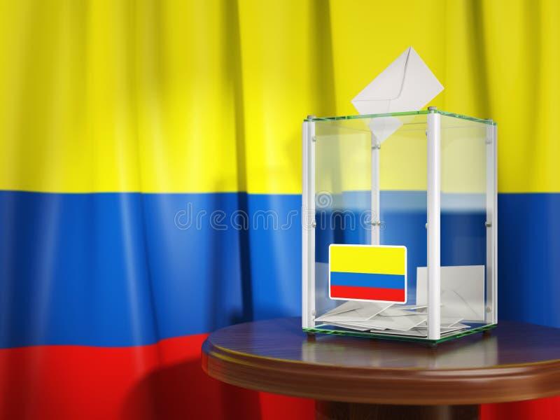 Урна для избирательных бюллетеней с флагом бумаг Колумбии и голосования чолумбийско иллюстрация вектора