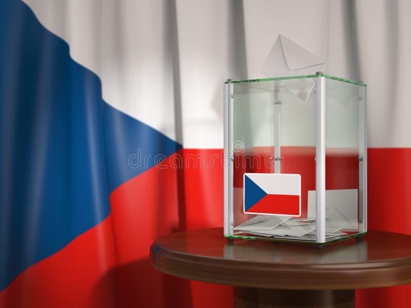 Урна для избирательных бюллетеней с флагом чехии и бумаг голосования чехословакско бесплатная иллюстрация