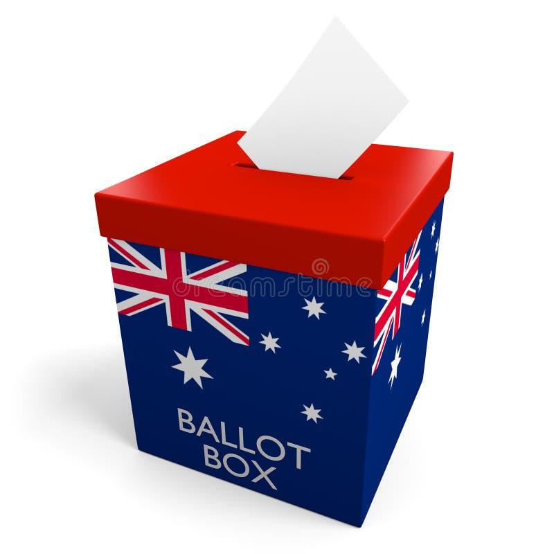 Урна для избирательных бюллетеней избрания Австралии для собирать голосования иллюстрация штока