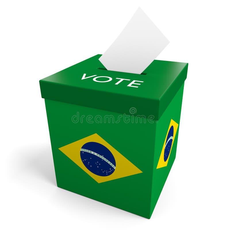 Урна для избирательных бюллетеней избрания Бразилии для собирать голосования иллюстрация вектора