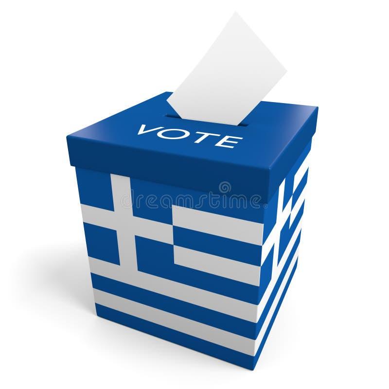 Урна для избирательных бюллетеней избрания Греции для собирать голосования иллюстрация штока