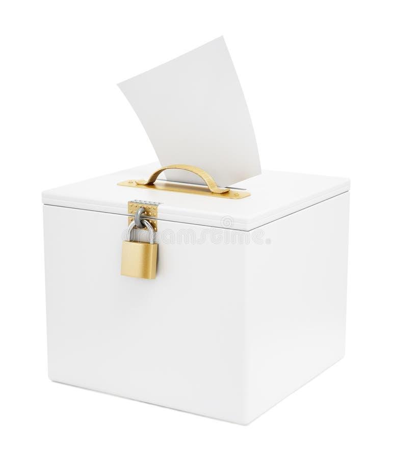 Урна для избирательных бюллетеней и бумага голосования стоковые изображения rf