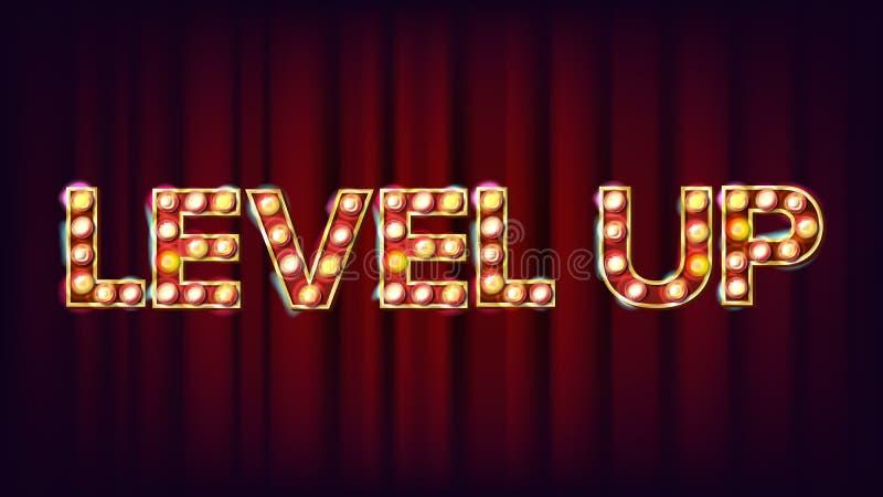 Уровень вверх по вектору знамени Знак казино сияющий светлый Для лотереи, покер, дизайн рулетки Иллюстрация игры иллюстрация вектора