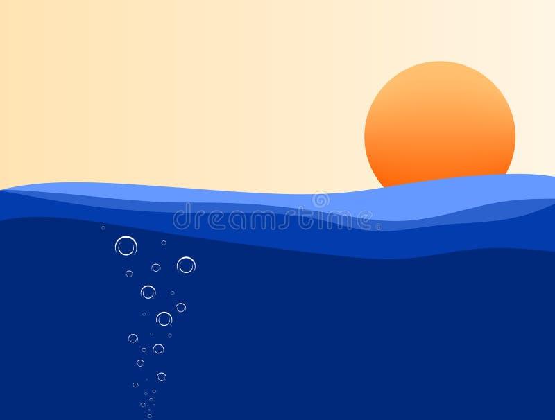 Уровень моря на заходе солнца и небе апельсина с белыми пузырями иллюстрация вектора