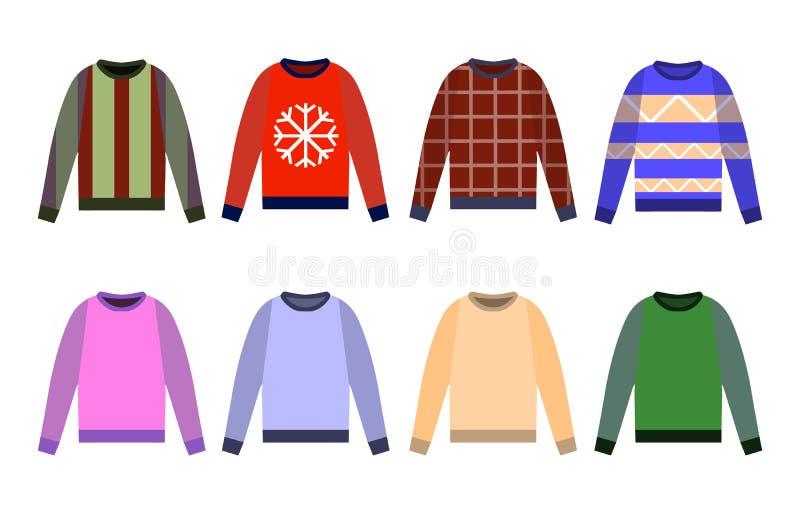 Уродские свитеры установили значок, желтый цвет, красный цвет, голубой шлямбур изолированный на белой предпосылке Плоский дизайн иллюстрация штока