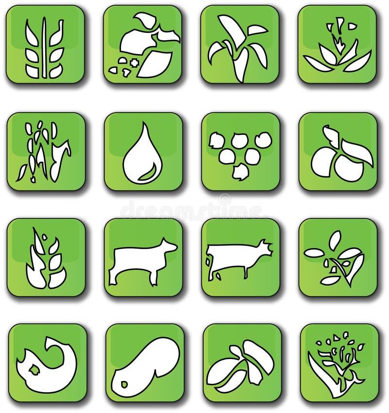 урожай лоснистые зеленые иконы иллюстрация вектора