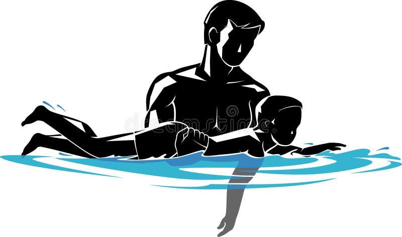 Уроки заплывания отца и сына в открытом море бесплатная иллюстрация