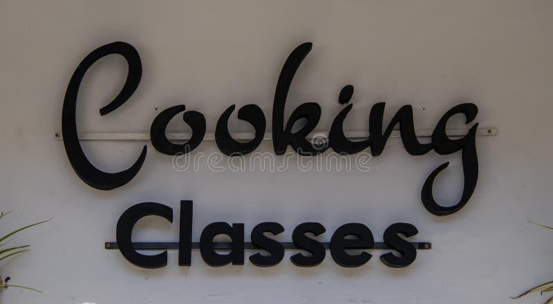 Уроки кулинарии подписывают стоковое фото rf