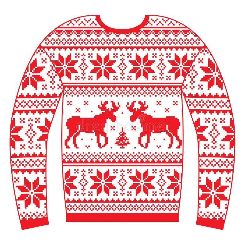 Уродские шлямбур или свитер рождества с картиной красного цвета северного оленя и снежинок бесплатная иллюстрация