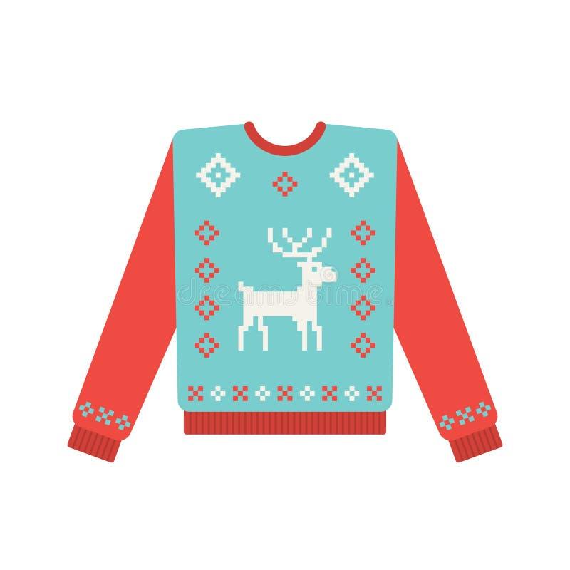Уродский свитер рождества с картиной оленей бесплатная иллюстрация