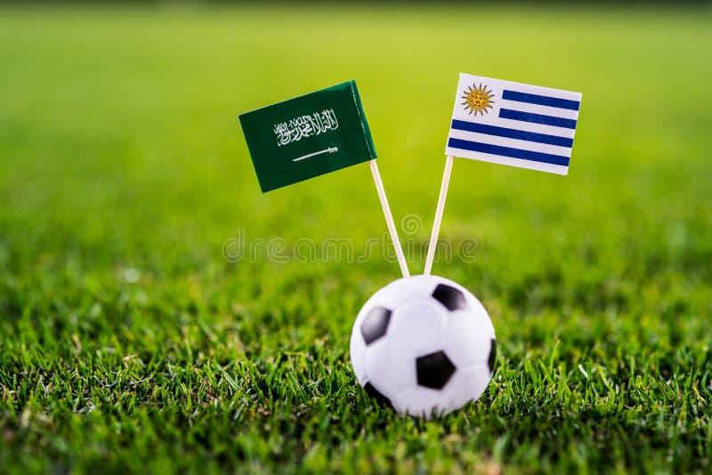 Уругвай - Саудовская Аравия, группа a, Wednesday, 20 Футбол -го июнь, кубок мира, Россия 2018, национальные флаги на зеленой трав стоковое фото rf