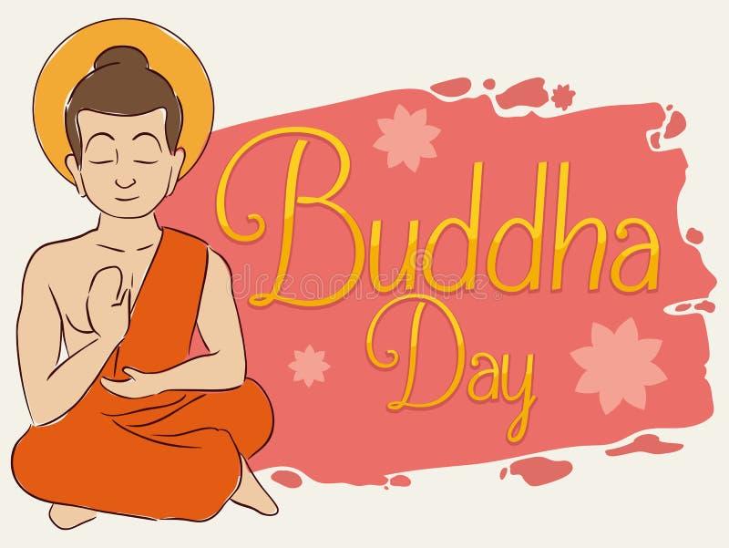 Усаженный Будда размышляя с Brushstroke и цветками лотоса для Vesak, иллюстрацией вектора бесплатная иллюстрация