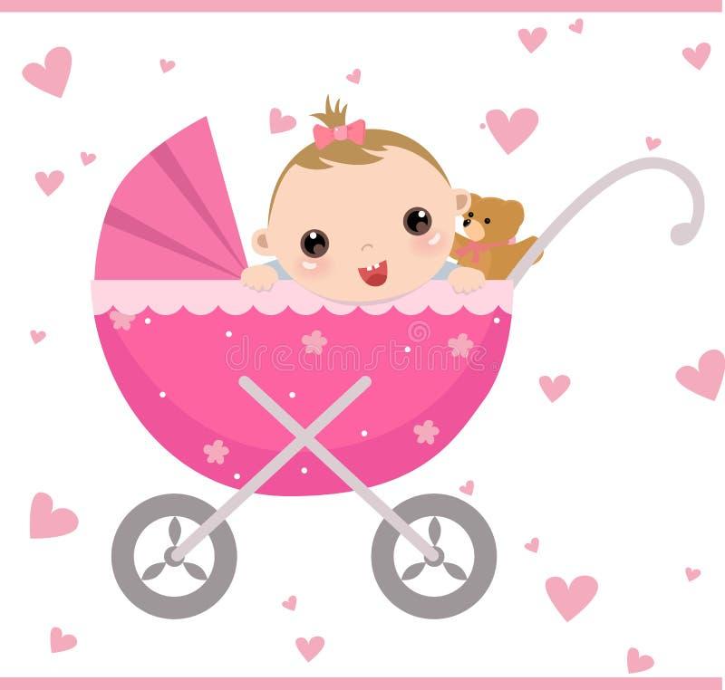 усаживание девушки детской дорожной коляски иллюстрация штока