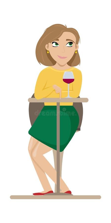 Усаживание девушки flirting на таблице в кафе с бокалом вина r иллюстрация вектора
