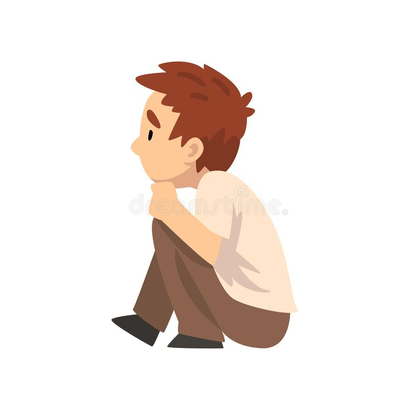 Усаживание мальчика на поле и слушать, маленький Preschool характер ребенк, иллюстрация вектора взгляда со стороны иллюстрация вектора