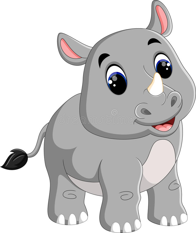 Усаживание носорога шаржа милое иллюстрация штока