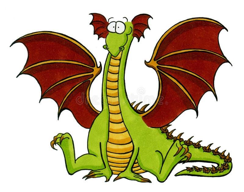 усаживание пола дракона зеленое иллюстрация вектора
