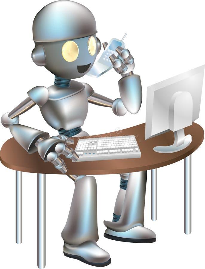 усаживание робота стола clipart иллюстрация штока