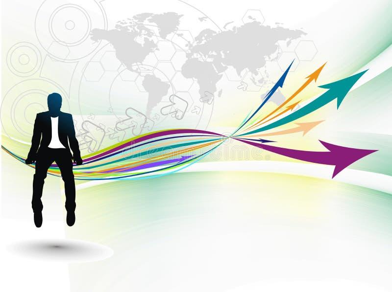 усаживание роста бизнесмена стрелки иллюстрация вектора