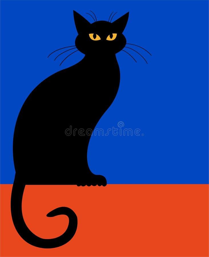 усаживание силуэта eps кота иллюстрация штока
