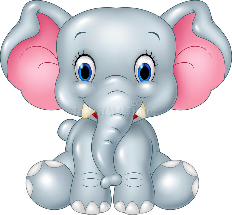 Усаживание слона младенца шаржа смешное изолированное на белой предпосылке бесплатная иллюстрация