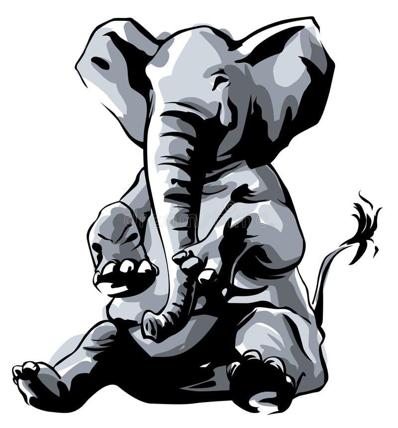 Усаживание слона иллюстрация вектора