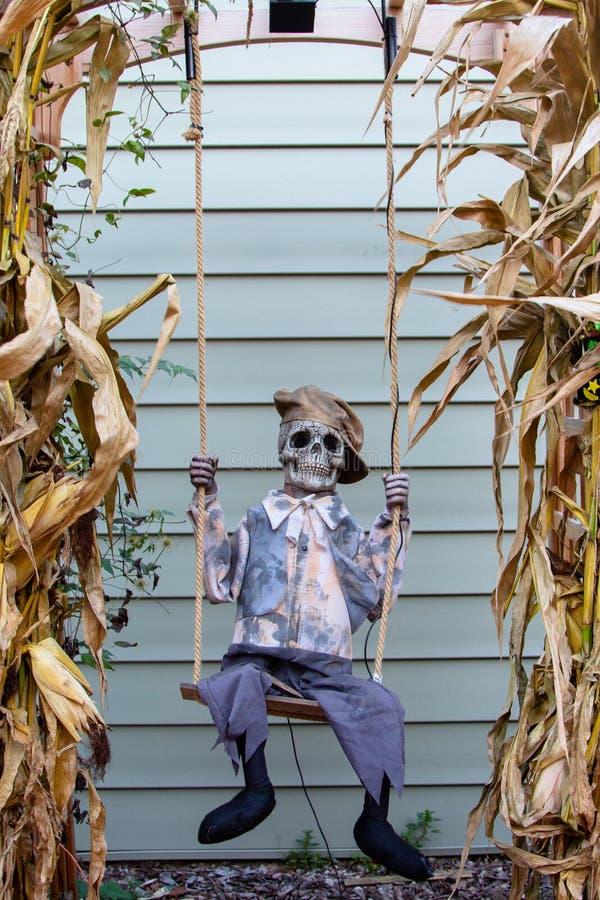 Усаживание хеллоуина каркасное на качании стоковое фото