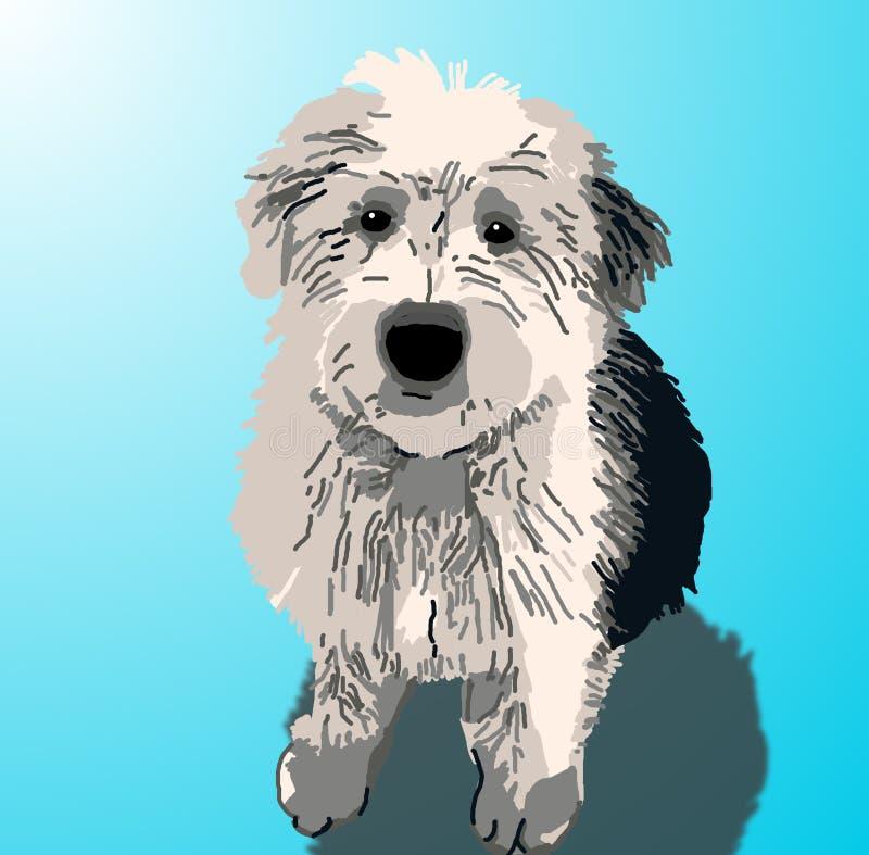 усаживание sheepdog щенка стоковое изображение
