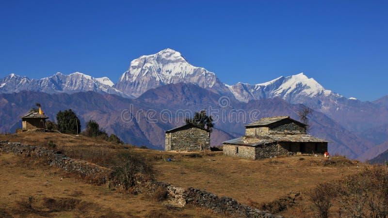 Усадьба в Гималаях, держатель Dhaulagiri стоковое изображение rf