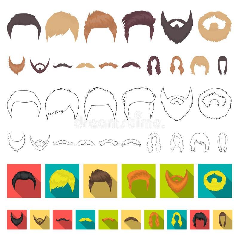 Усик и борода, значки шаржа стилей причёсок в собрании комплекта для дизайна Стильная сеть запаса символа вектора стрижки иллюстрация вектора