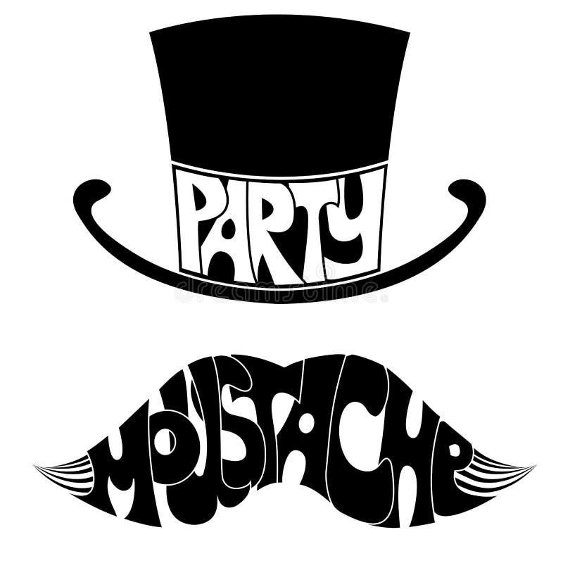 Усик и шляпа партии с текстом. иллюстрация вектора