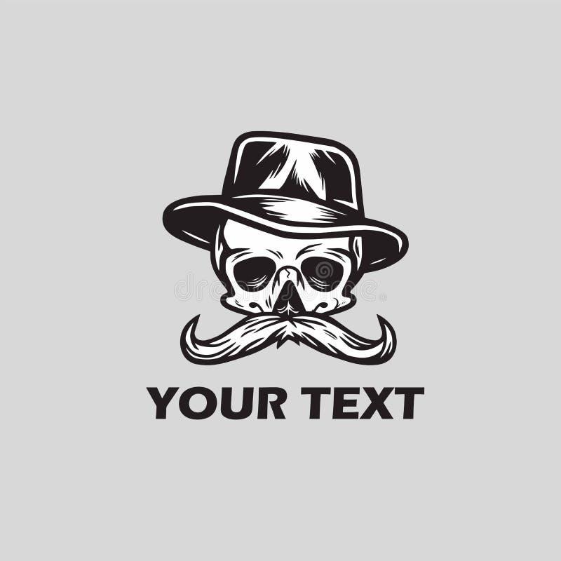 Усик черепа в логотипе шляпы бесплатная иллюстрация