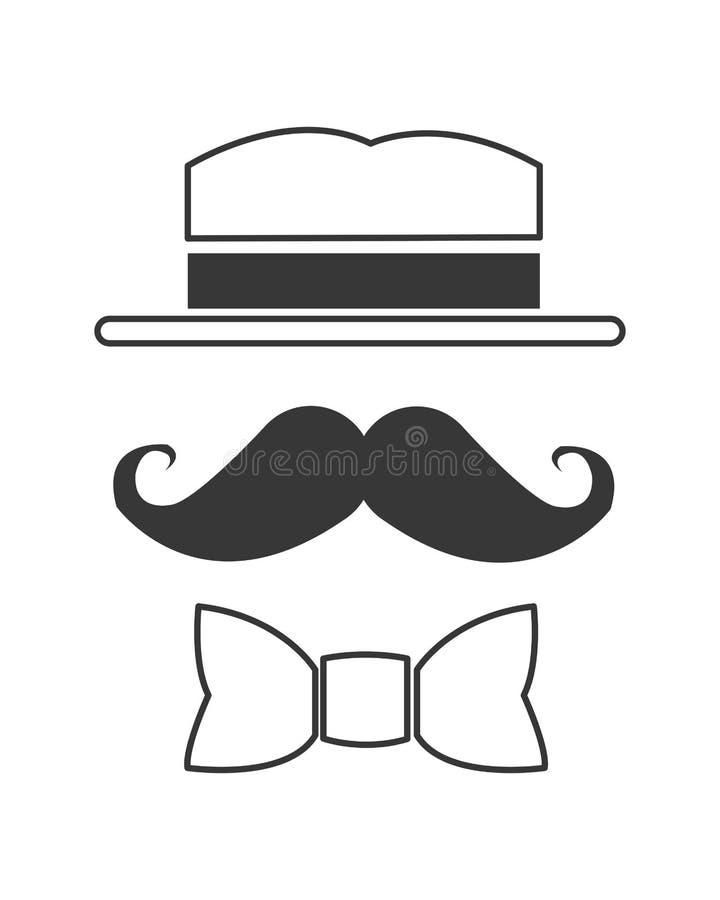 усик шляпы и значок bowtie стоковое изображение rf