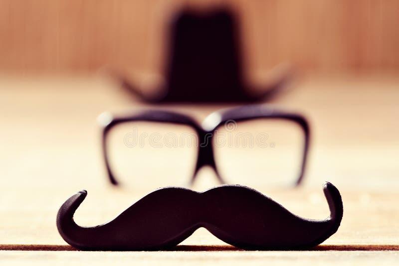Усик, eyeglasses и шляпа формируя сторону человека стоковое фото