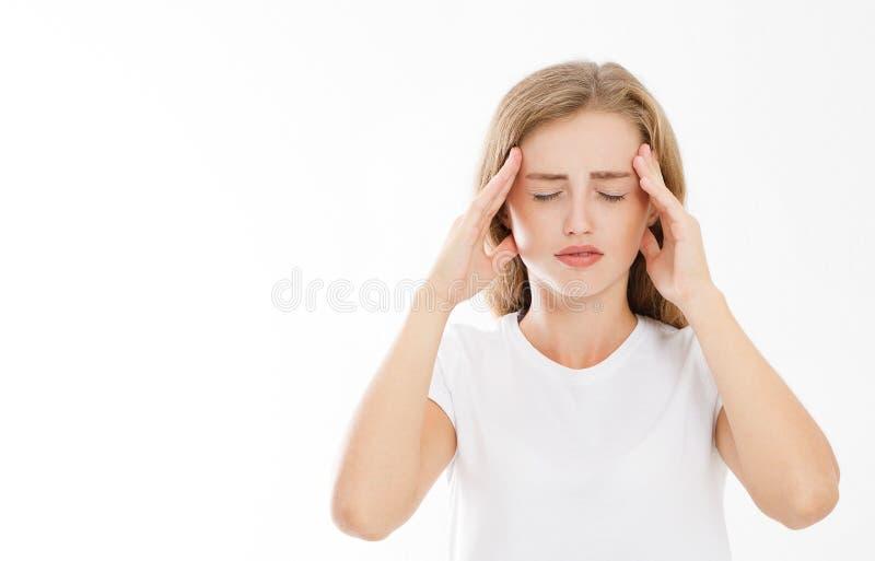 Усиленная вымотанная кавказская женщина имея сильное напряжение Headach стоковое изображение rf