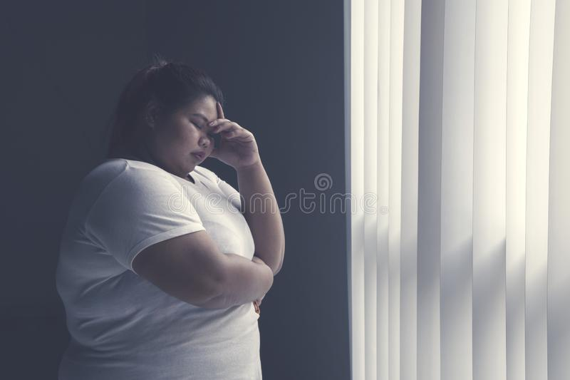 Усиленная тучная женщина готовя окно стоковая фотография