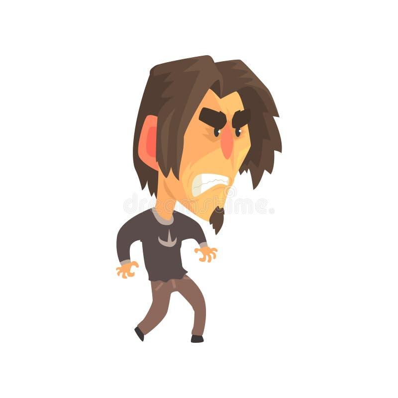 Усиленный молодой сердитый человек с агрессивными выражениями лица, укомплектовывает личным составом эмоциональную иллюстрацию ве иллюстрация вектора