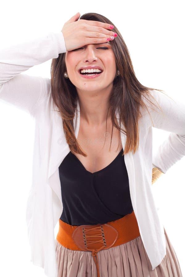 Усиленная бизнес-леди имея головную боль стоковое фото