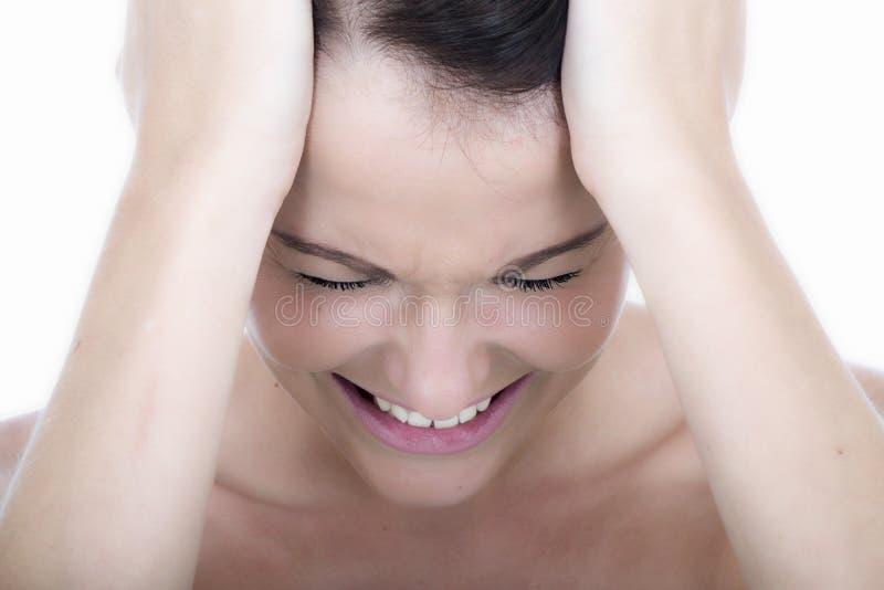 Усиленная молодая женщина с мигренью головной боли стоковые фотографии rf