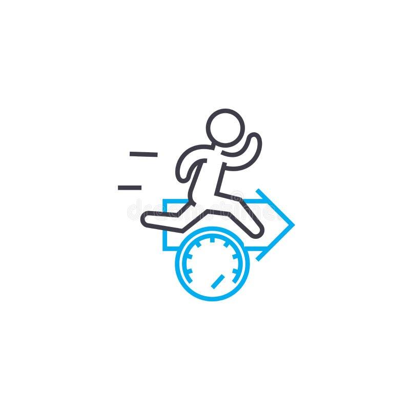 Ускоренная ход концепция значка побежки работы линейная Ускоренная ход линия знак побежки работы вектора, символ, иллюстрация иллюстрация вектора